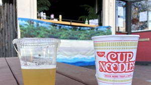 Maple-Whiskey Lemonade and a Cup of Noodles to-go from the Monkey House