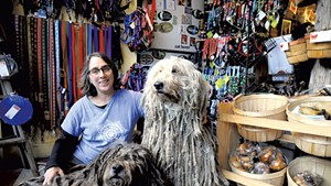 Cindra Conison with her Bergamasco sheepdogs
