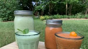 Blender soups: cucumber-yogurt and gazpacho