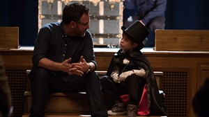 Director Colin Trevorrow (left) and actor Jacob Tremblay on the set of The Book Of Henry