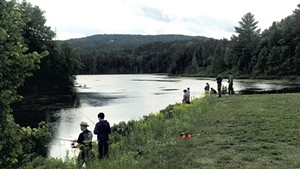 Anglers at Baker Pond in Brookfield