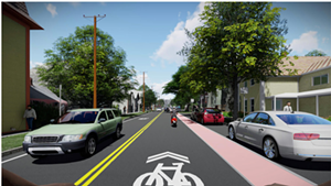 Rendering of a cyclist's view on Pine heading north toward Maple Street