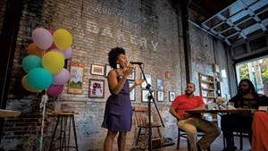 Ferene Paris Meyer performing at her Feed Your Soul pop-up at August First