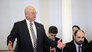 Sen. Norm McAllister defends himself on the floor of the Senate Wednesday.