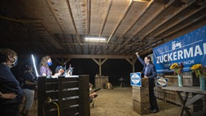 Lt. Gov. David Zuckerman declaring victory Tuesday night at his Hinesburg farm