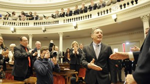 Gov. Peter Shumlin prepares to deliver his final State of the State address last Thursday at the Statehouse.