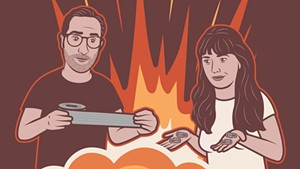 "Illustration of Nathan Hartswick and Annie Russell, hosts of ""Duct Tape & Paperclips"""