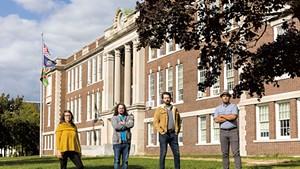 From left: Angie Sturm, Reese Kelly, Tanner McCuin and Reier Erickson, members of Neighbors for a Safer Saint Albans