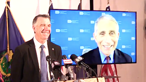 Dr. Anthony Fauci with Gov. Phil Scott at Tuesday's press conference