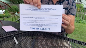 An absentee ballot from Vermont's August primary