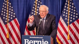 Sen. Bernie Sanders speaking earlier this year in Burlington