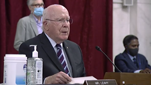 Sen. Patrick Leahy at a hearing on Thursday