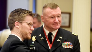 Rep. Dylan Giambatista (D-Essex Junction) with current Adj. Gen. Greg Knight in January 2019