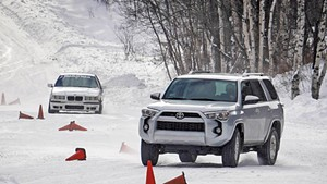 Cars on the winter driving school course at Team O'Neil Rally School