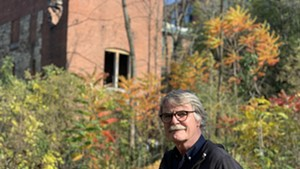 David Macaulay outside the Woolen Mills in Winooski