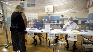 Voting in-person in South Burlington last summer