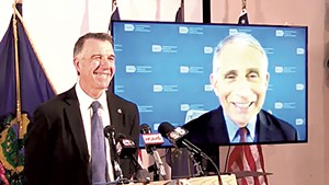 Gov. Phil Scott with Dr. Anthony Fauci on-screen