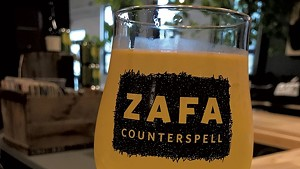 A glass of natural ZAFA wine