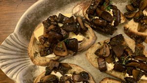 Mushrooms and cheese on toast