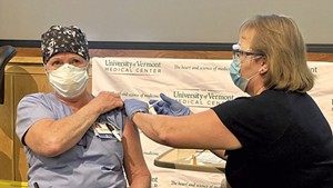 Cindy Wamsganz, the first person to receive a COVID-19 vaccine in Vermont