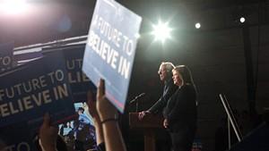 Sen. Bernie Sanders speaks to supporters in Essex Junction.