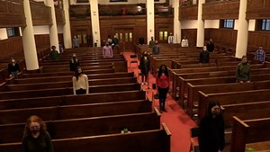 Middlebury College Choir rehearsing during the pandemic