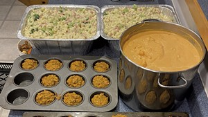 Muffins, cauliflower bisque, and ham-and-broccoli mac and cheese
