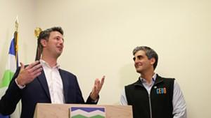 Luke McGowan (left) and Mayor Miro Weinberger