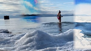Katharine Montstream takes a chilly dip in Lake Champlain