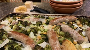 Sheet-pan-roasted sausages, broccoli and chickpeas with lemon and Parmesan