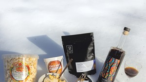 Left: Bragg Farm's maple kettle corn, maple sundae made with ingredients from Morse Farm, Vivid Coffee's Sugar Shack blend, the Gateway Farm's maple butter and Woodnose's Sacré.
