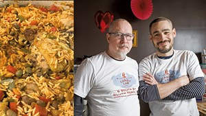 Traditional Puerto Rican chicken and rice from Lola's Latin Kitchen | Candy Lab co-owners Michael McCarver-Reyes (left) and Albert Reyes-McCarver
