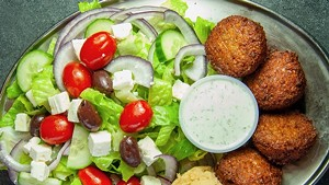 Falafel Greek Salad at Café Mediterano