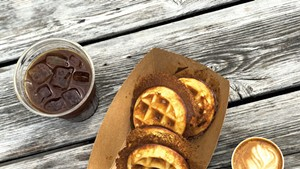 Coffee and waffles from the Great Northern and Zero Gravity