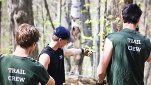 A crew building Cochran's mountain biking trails