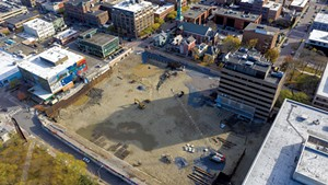 The CityPlace Burlington site, with 100 Bank Street visible in the top right-hand side of the pit