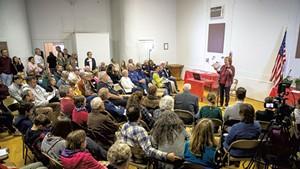 Ellie Martin speaking at the Essex Center Grange Hall