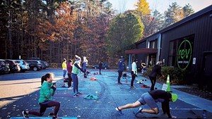 Outdoor fitness class with REV Indoor Cycling