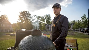 Henry Long and his Big Green Egg grill at a Good Grocery pop-up at Burlington's Bayberry Commons