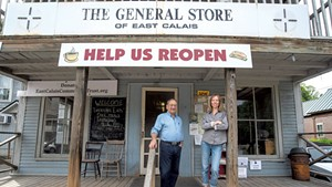 Marc Mihaly and Melissa Brough Marshall at the General Store of East Calais