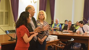 Reps. Kesha Ram (D-Burlington), Mike Hebert (R-Vernon) and Marianna Gamache (R-Swanton) speak about an energy siting bill Friday at the Statehouse.