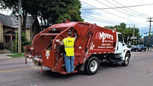 A crew from Myers Container Services in Burlington