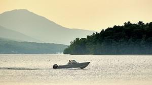 Boaters on Lake Memphremagog