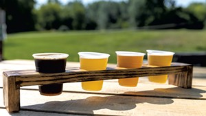 A beer flight at Two Heroes Brewing in South Hero