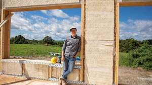 New Frameworks cofounder Ace McArleton on the site of a new build at Bread & Butter Farm in Shelburne