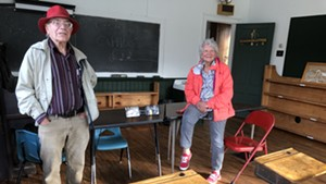 Rod Noble and Connie Quimby in the schoolhouse where both were students in the 1940s and 50s