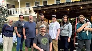 Full Barrel Cooperative members (from left): Brook Martenis, Evie Kolk, Windy Jones, Peter McConville, Matt Cropp (kneeling), Casey Thomas, Jessica Avison and Mellisa Cain