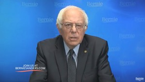 Sen. Bernie Sanders addresses supporters Thursday night from Burlington.