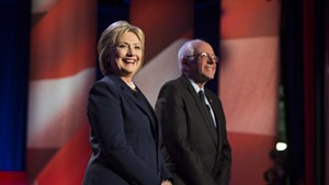 Sen. Bernie Sanders and Hillary Clinton at a debate  in New Hampshire in February