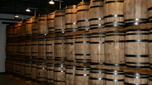 Whiskey barrels in the aging room